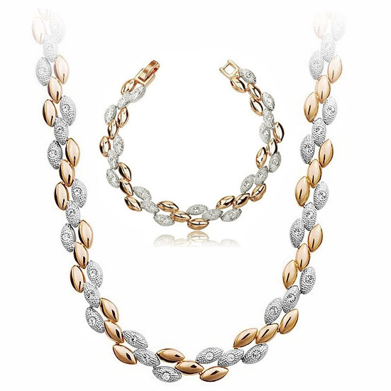 tiger totem free shipping top quality gold-color plated Rhinestones wheat fashion Jewelry set Necklace Bracelet girl accessories