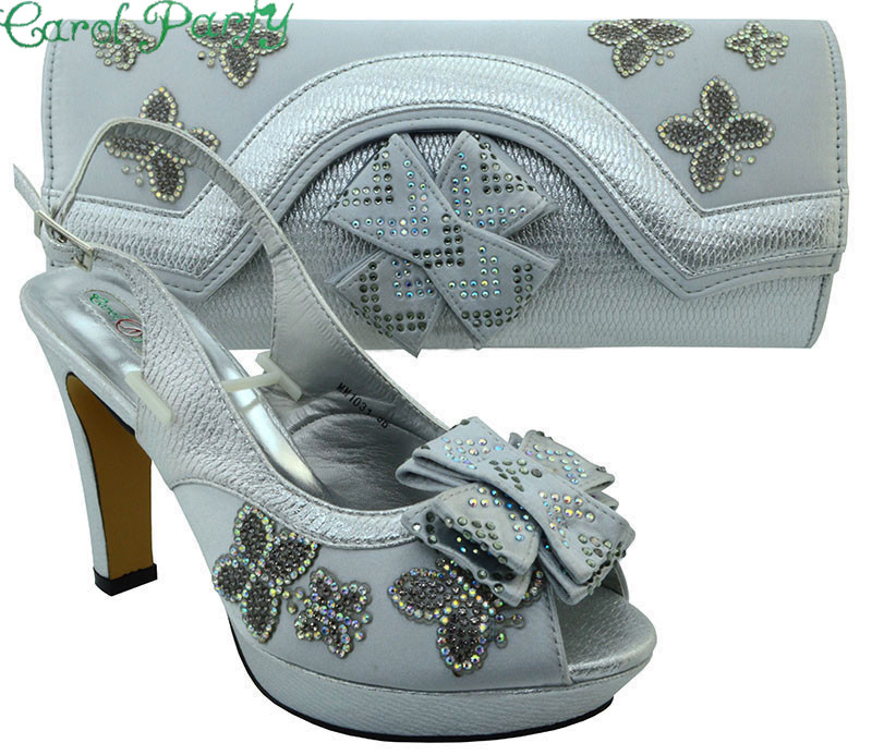 Sliver Color Shoes and Bag Sets for Women Italian Ladies Shoe and Bag Set Decorated with Rhinestone African Women Shoes  MM1031 new fashion green color decorated with diamonds african shoes and bag set for party in women italian matching shoe and bag sets