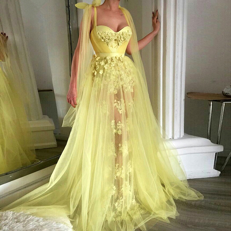 Yellow Muslim   Evening     Dresses   2019 A-line Sweetheart Tulle Lace Long Islamic Dubai Saudi Arabic Long Formal   Evening   Gown