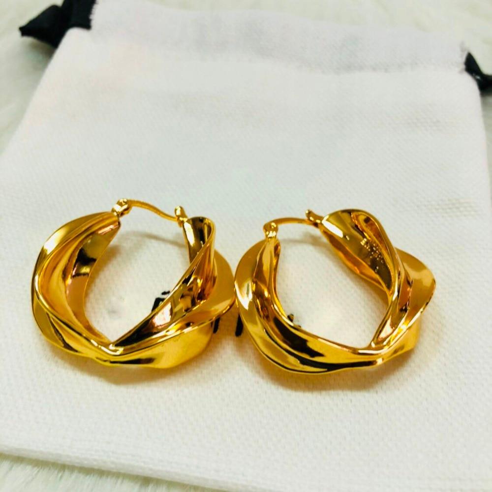 Huge Popular Copper Circle Pair Fashion Stripes Stud Earring Twisted Earrings Kolczyki Kupe Boucle Oreille Oorbel Ohrringe