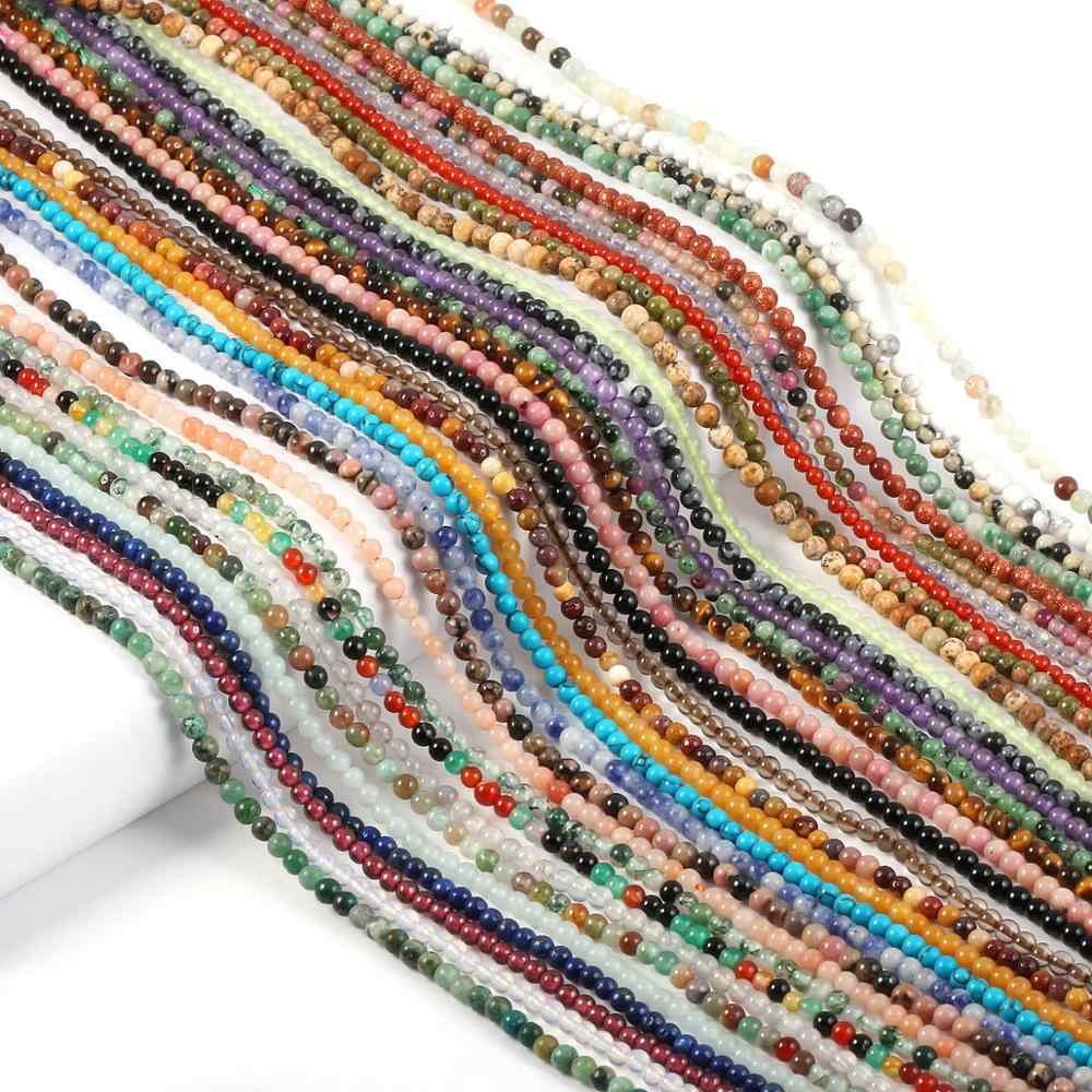 2020 ใหม่ขายส่งลูกปัดหินธรรมชาติ Rose Quartzs อเมทิสต์ Agates ลูกปัดสำหรับเครื่องประดับทำลูกปัด DIY สร้อยข้อมือ 2 มม.3 มม.