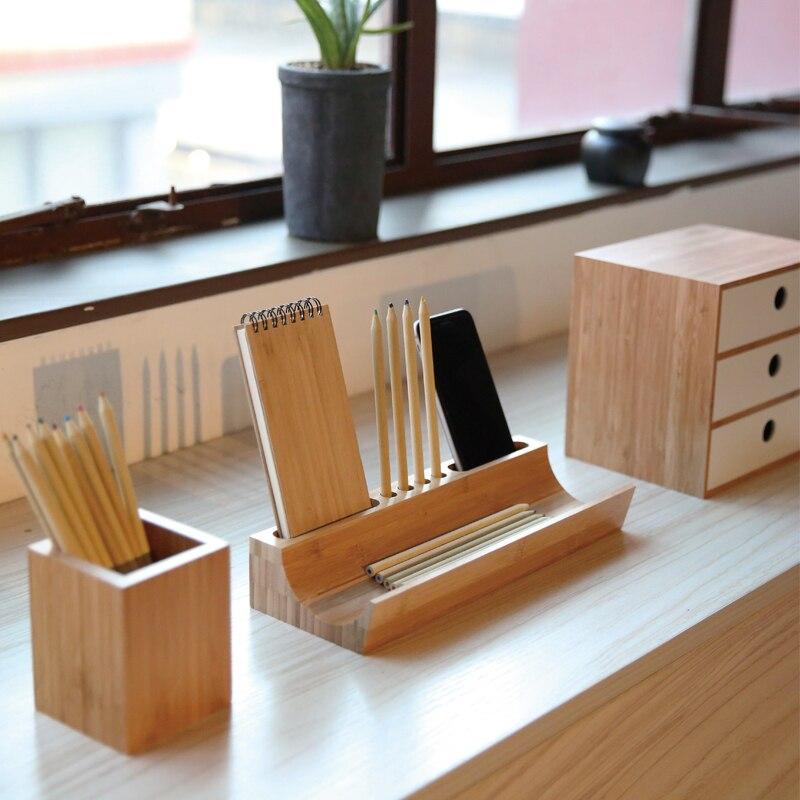 Business Office Desktop Storage Racks Bamboo Debris Box Gift Ideas Environmental Pen Holder K64 Free Shipping In Stationery From