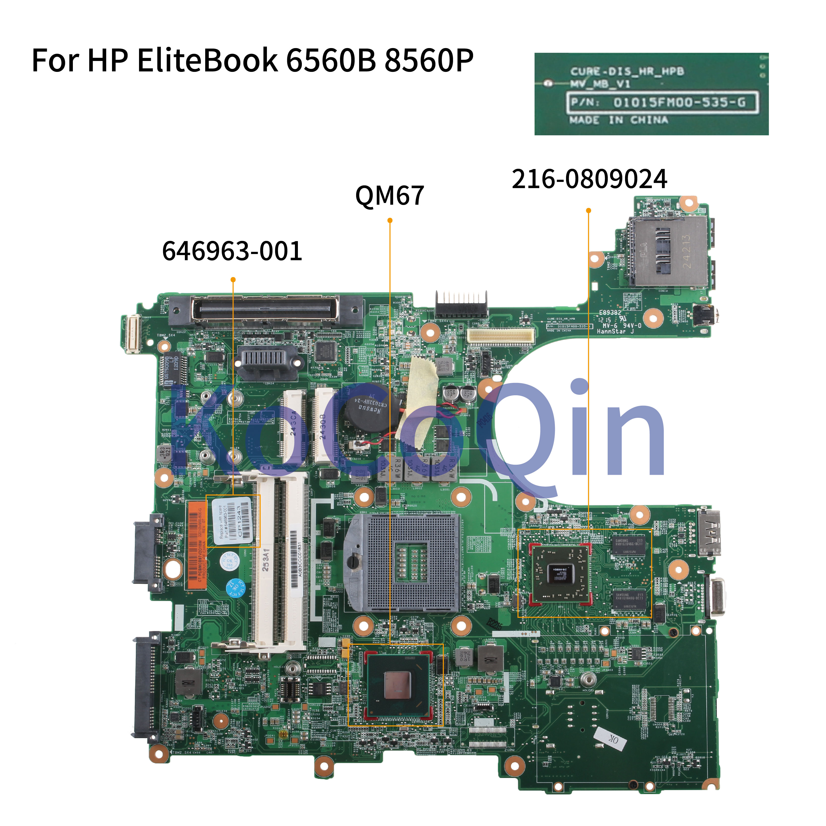 6560B KoCoQin Laptop motherboard Para HP EliteBook 8560P Mainboard 646963 646963 501 0105FM00 001 QM67 1G 216 0809024|Placa-mãe para notebook| |  -