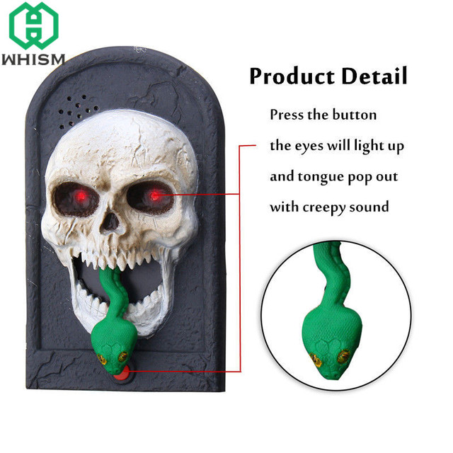 whism squelette halloween spooky doorbell plastic witch skull vampire tongue out sound door bell for home - Squelette Halloween