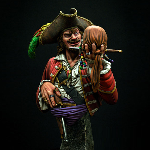 Model Scale 1/ 10  Resin Bust Pirate Figures Kits Free Shipping Unpainted And Not Assembled  Free Shipping X67