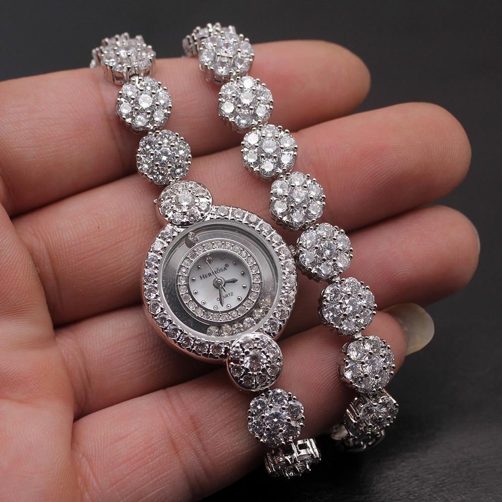 Prom Gifts Women Quartz Wristwatch Whitetopaz Fashion Jewelry Watch Sterling Silver Links Bracelet 7 Inches H2001 l 10 women s stylish petals style bracelet quartz analog wristwatch golden white 1 x lr626