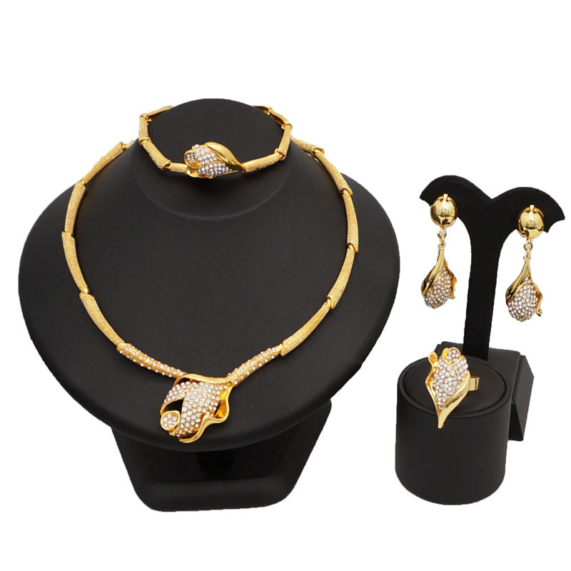 gold fine jewelry sets  women necklace wholesale jewelry set african big jewelry sets