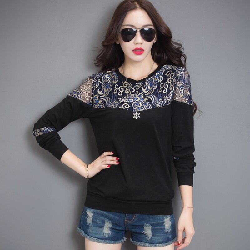 Lace T-Shirt Korean T Shirt Women Clothes 2018 Casual Tshirt Female Long Sleeves Cotton O-Neck Womens Clothing Vetement Femme