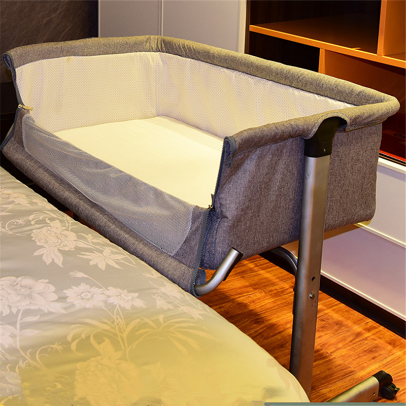 Portable Bed Connected With Parents' Normal Big Bed Infant Travel Sleeper Portable Cot Breathable Folding Adjustable Height Crib