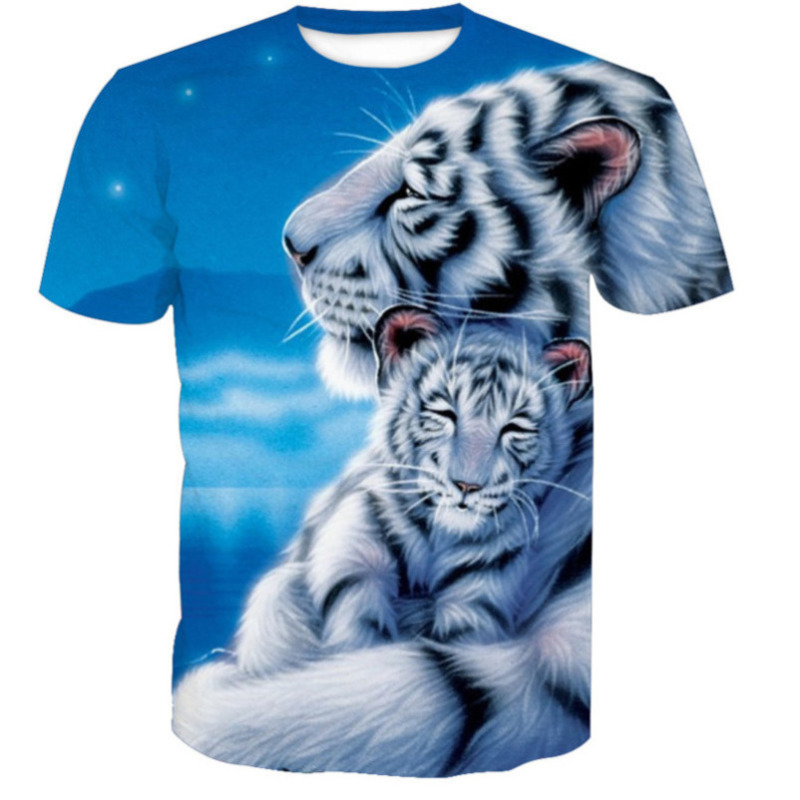 New Fashion tshirts Summer Cool Men's funny T shirt Warm White Tiger 3d printed t shirts Digital Printing Breathable Quick dry