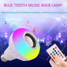 Smart E27 RGB Bluetooth altavoz LED Bombilla 12 W música reproducción regulable lámpara Led inalámbrica con control remoto de 24 teclas control(China)
