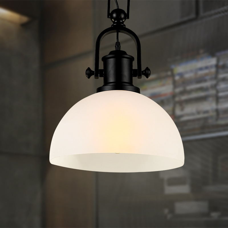 Modern minimalist matte glass chandelier American retro industrial creative restaurant clothing store coffee shop bar table lamp terrorism before the letter