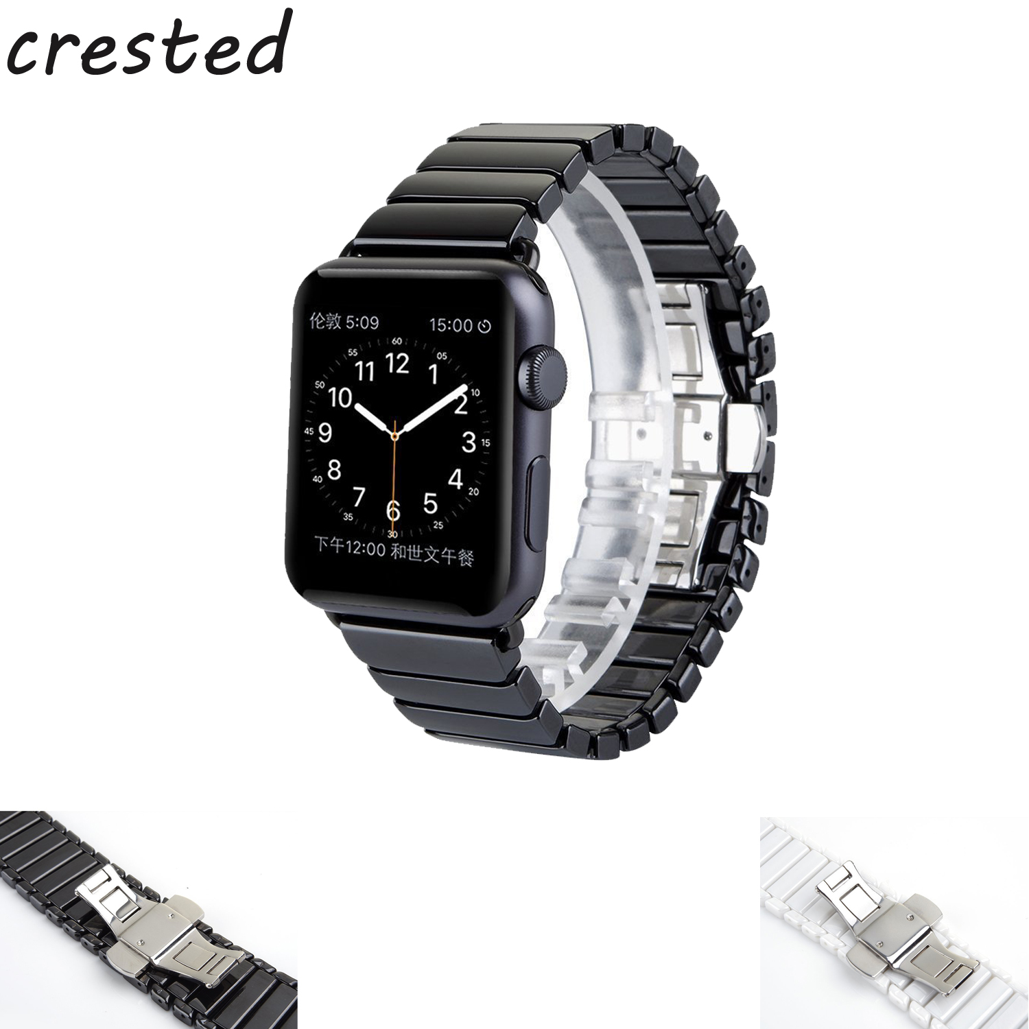 CRESTED Band for Apple Watch 3 42mm/38mm iwatch 3 2 1 Ceramic wrist band Link Bracelet Butterfly loop band strap crested nylon band strap for apple watch band 3 42mm 38mm survival rope wrist bracelet watch strap for apple iwatch 3 2 1 black