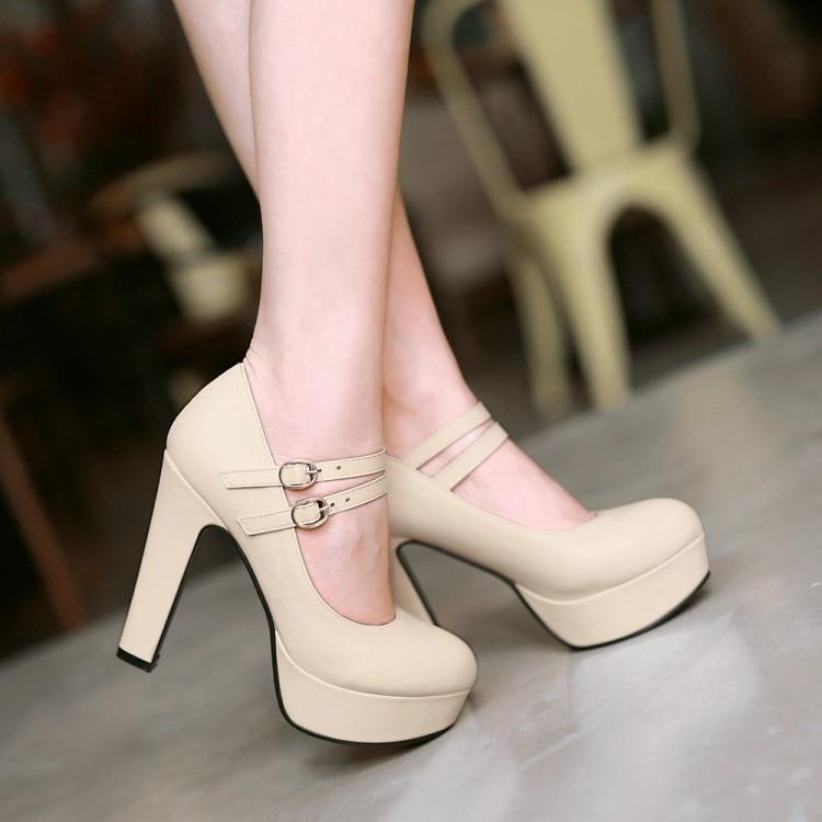 ФОТО Pumps Shoes Woman PU New 32 33 46 45 44 43 high heel 12CM Platform 4CM Thin Heels EUR size 31-47