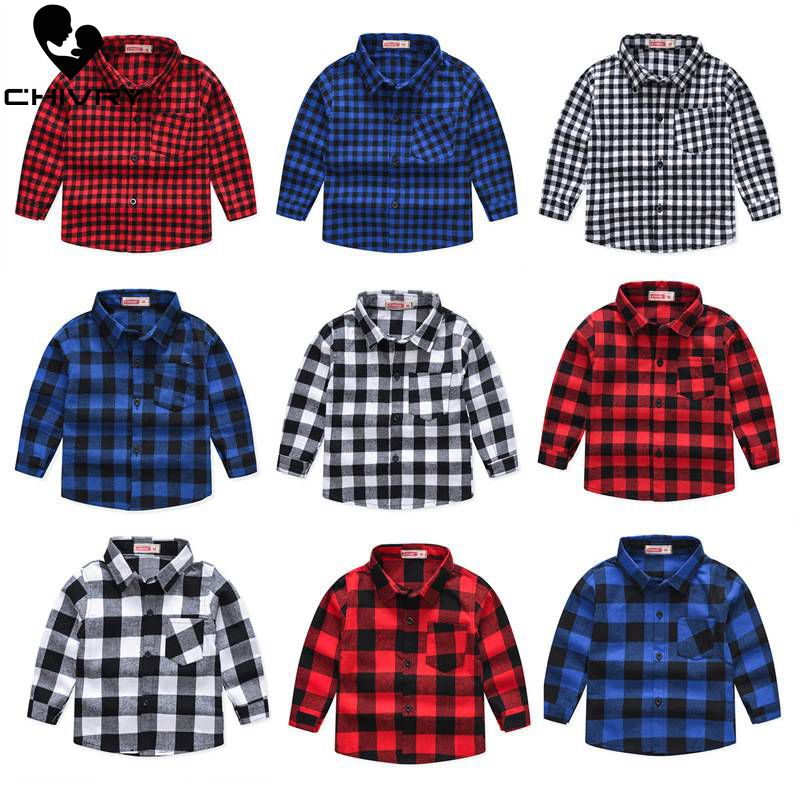 Spring Autumn 2019 New Boys Long Sleeve Classic Plaid Lapel Shirts Tops With Pocket Baby Boys Casual Shirt Kids Clothing