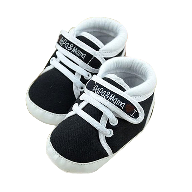 Newborn Infant Baby I Love Papa Mama Soft Sole Crip Sport Shoes Sneakers Casual 0~6 Months 11cm black