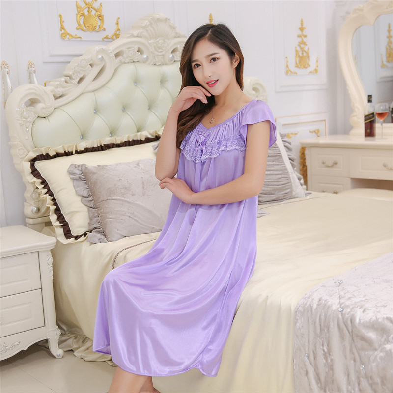 Summer Sexy V-neck Silk   Nightgown     Sleepshirts   Women Plus Size 4XL Sleepwear Lounge Casual Satin Silky Nightwear Female Dress