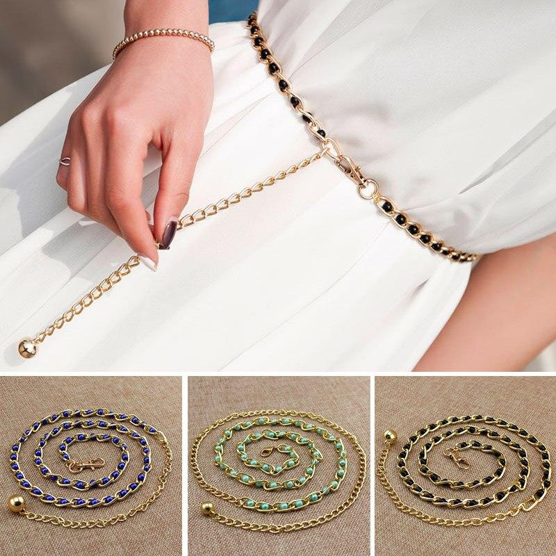 BONJEAN 2018 personality Fashion Metal Waist Chain gilding   Belt   Decoration Dresses Girls Designer   Belts   Women belly Chain