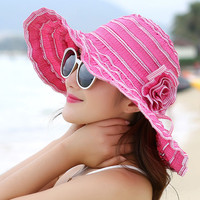 Summer Ladies Fashion Folding Breathable Sun Hats Travel Holiday Anti UV Beach Hat Wind Rope Fixed