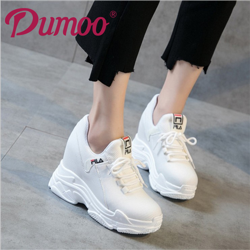 HotSale Super High Heel 10cm Lady Casual White Shoes Women Sneaker Leisure Platform 5cm Shoes Height Increasing Wedge Shoes 2018 winter jacket female parkas hooded fur collar long down cotton jacket thicken warm cotton padded women coat plus size 3xl k450