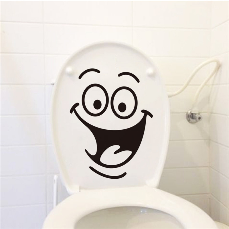 Smile face Toilet stickers diy personalized furniture decoration wall decals fridge washing machine sticker Bathroom Car Gift image