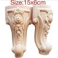 4PCS LOT 15x6CM European Furniture Accessories Wood Carved Flower TV Cabinet Foot Bathroom Cabinet Legs