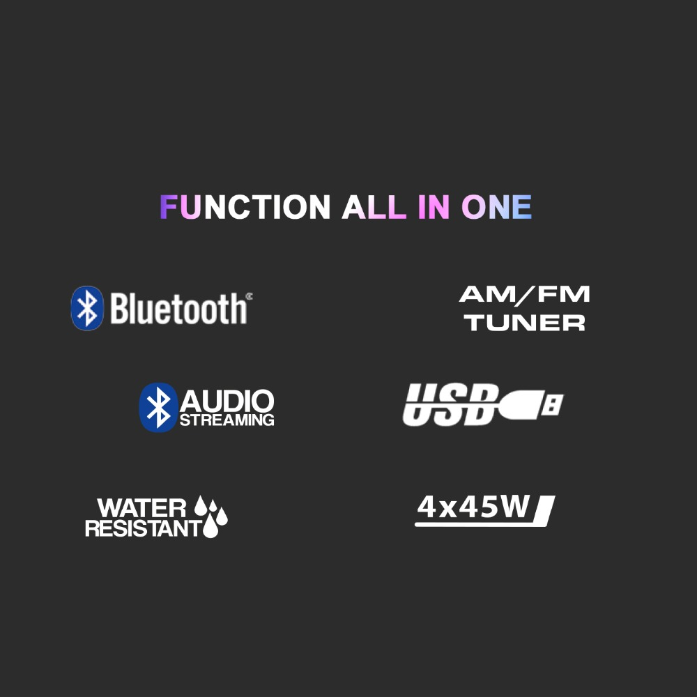 Marine Gauge Radio Boat Stereo Bluetooth FM AM Waterproof MP3 for Car ATV UTV RV