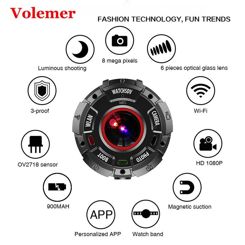 цена на Volemer sports camera 30 meter Waterproof HD 1080P Watch band Camcorder Swim Diving Wide-angle Video Recorder wifi mini camera