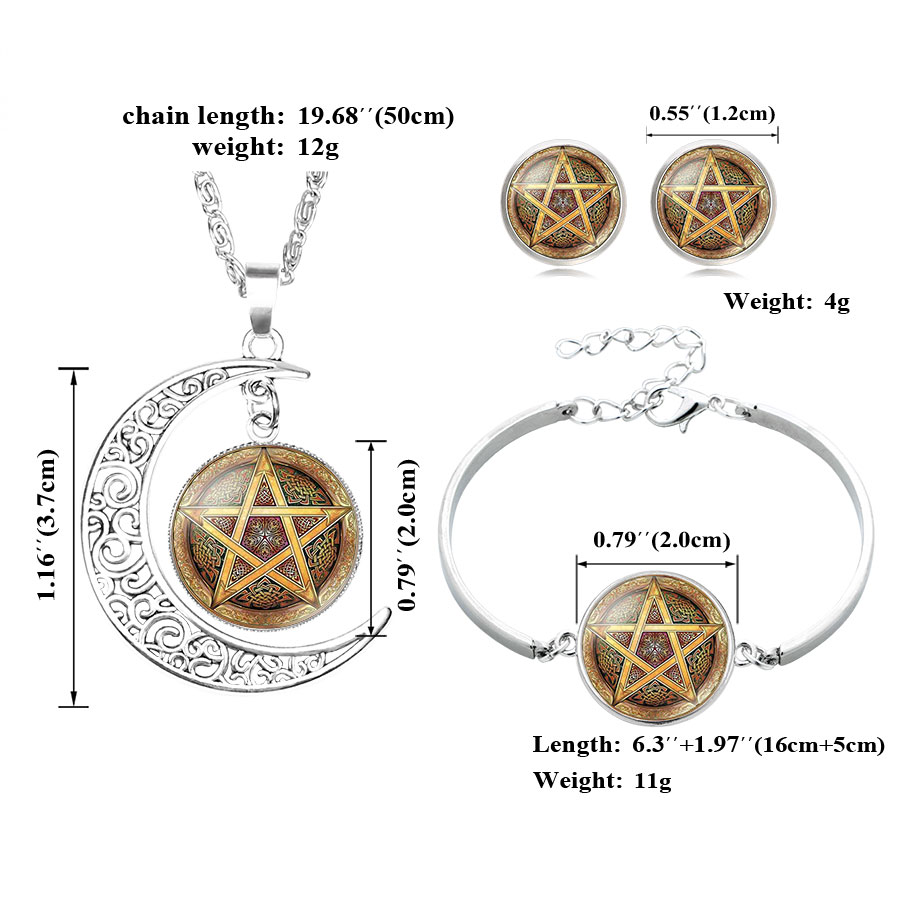 Ningxiang occult satanic star symbols inverted satanic pentagram ningxiang occult satanic star symbols inverted satanic pentagram necklace bracelet earrings glass cabochon jewelry set for women in jewelry sets from buycottarizona