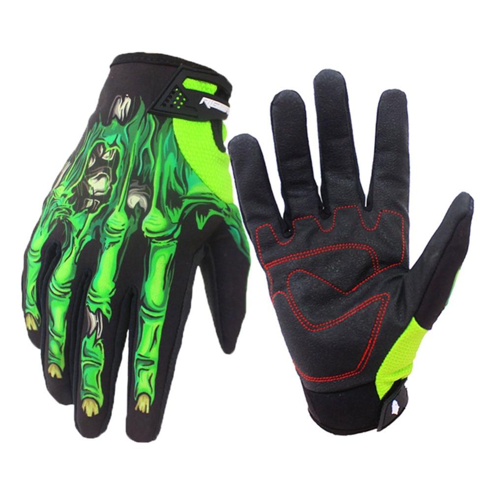 1 Pair Full Finger Waterproof Motorcycle Gloves Knight Skeleton Printed Hand Gloves 3d Skull Bone Windproof Waterproof Gloves