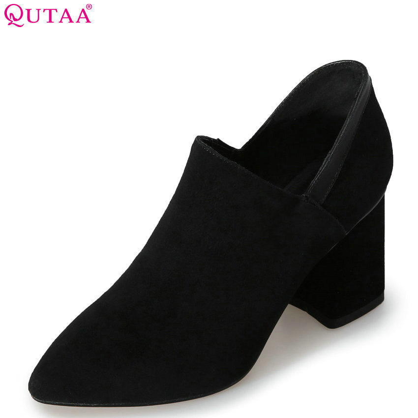 QUTAA 2018 Women Pumps Pointed Toe Women Shoes Slip on Square High Heel Solid Leisure All Match Ladies Pumps Size 34-39 sweet women high quality bowtie pointed toe flock flat shoes women casual summer ladies slip on casual zapatos mujer bt123