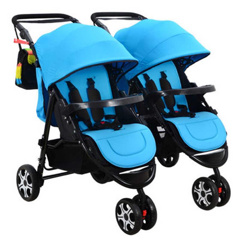 Sinh đôi xe đẩy cho bé đôi chống sốc có thể chia nhiều sinh trẻ em có thể ngồi phẳng gấp Full bình