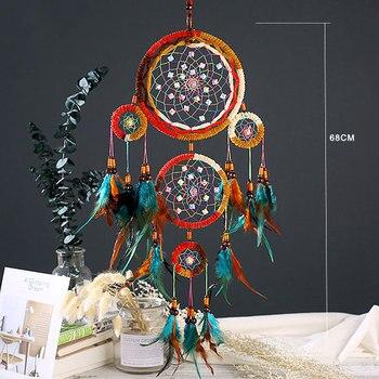 Grand Attrape rêve amérindien traditionnel avec 5 cercles 2