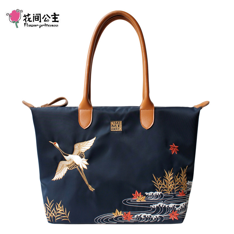 Flower Princess Nylon Embroidery Crane Large Tote Bag Shoulder Bag Women Handbag Crossbody Bags Teenage Girls Ladies Hand Bag цена