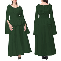 Womens Dress Ladies Cosplay Summer Boat Neck Cocktail Long Vintage Stylish