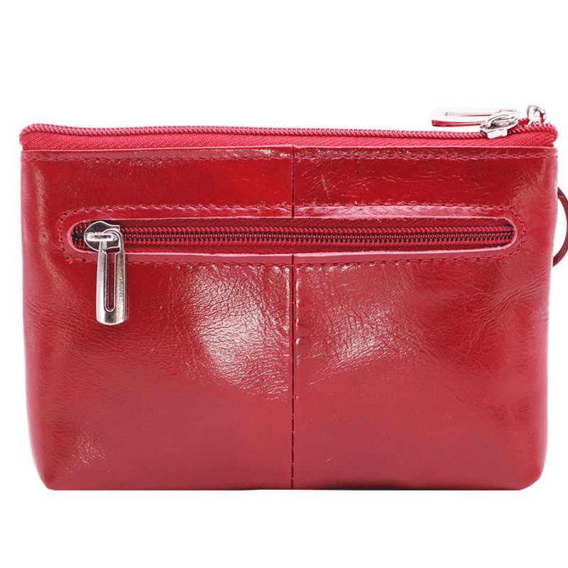 Boho fino genuíno couro de cera de óleo mulheres carteiras zíper mini bolsas de moedas femininas sacos de dinheiro cartões magia walet vermelho com chaveiro
