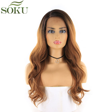 Black Brown Blonde Synthetic Lace Front Wigs SOKU Long Wavy Free Part