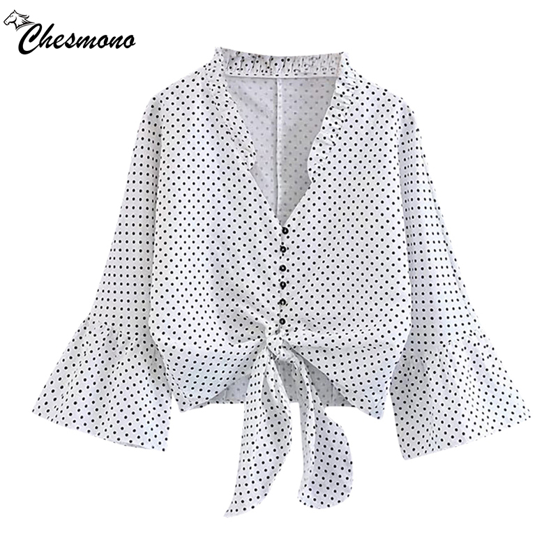 newest spring v neck chiffon blouse shirt Women tops 2018 white blouse polka dot summer flare sleeve soft chemise femme bow tops