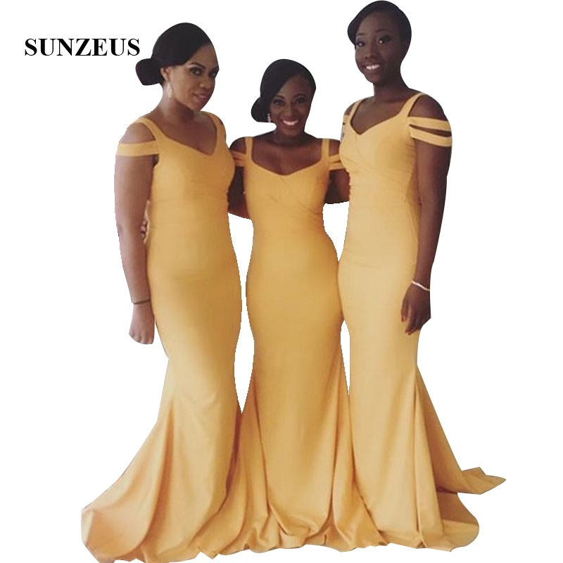 Mermaid Yellow   Bridesmaid     Dress   Long Elegant Black Women Wedding Party Gowns V-neck Straps Simple Formal   Dresses