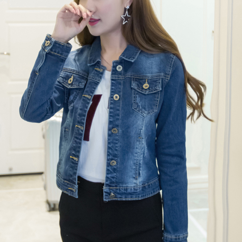 Women Short Jeans Jacket Slim Turn Down Collar Long Sleeve Button Denim Outwear New Chic Vintage