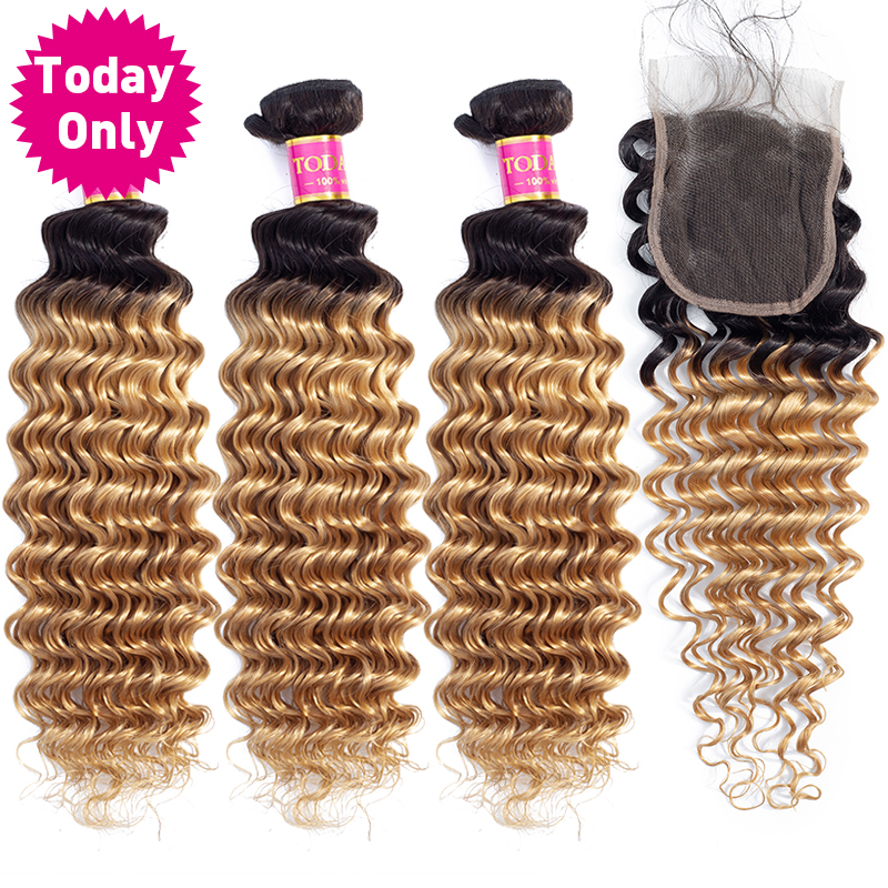 TODAY ONLY Blonde 3 4 Bundles With Closure Brazilian Deep Wave Bundles With Closure Brazilian Hair