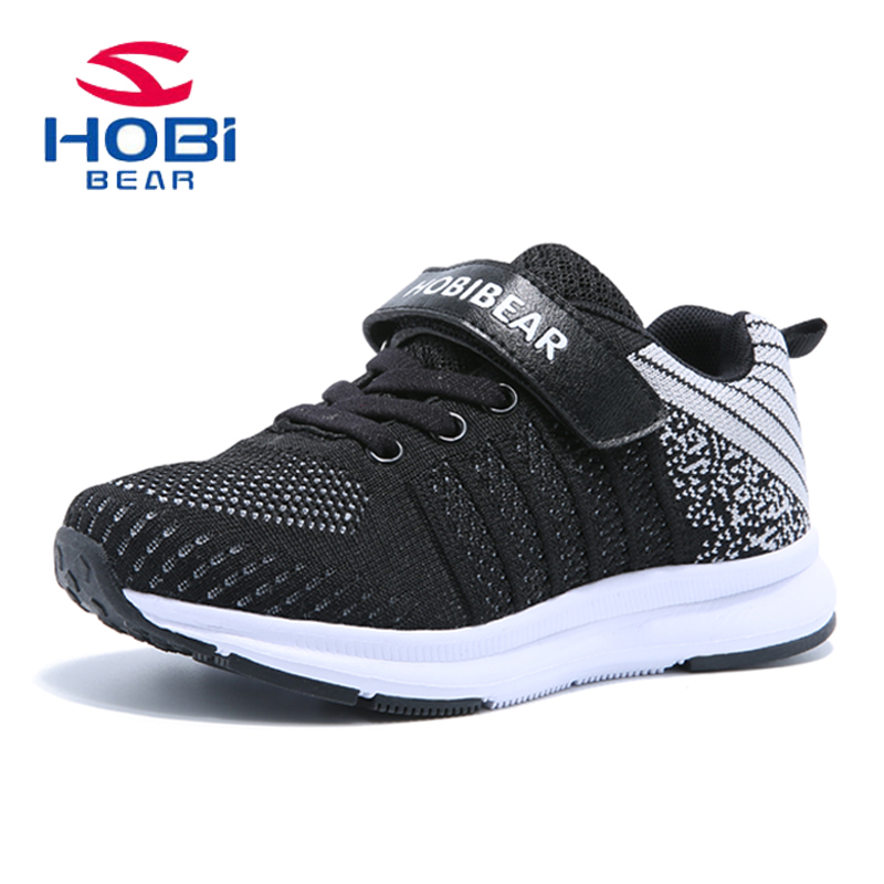 kids shoes of boys girls hook&loop Lightweight Breathable sneakers walking sport footwear 2018 spring new fashion hobibear H7527 lovely toddler first walkers baby boys and girls cotton shoes soft bottom hook sneakers i love mom dad