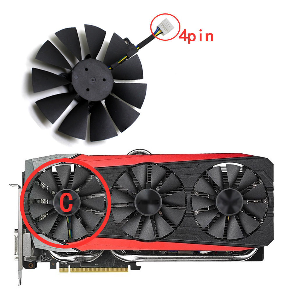 T129215SU 88MM 4Pin Cooler Fans For ASUS GTX 1060 3GB/ GTX ROG STRIX 1070 GAIMIG/1080ti Gaming Graphics Card Cooling Fan image