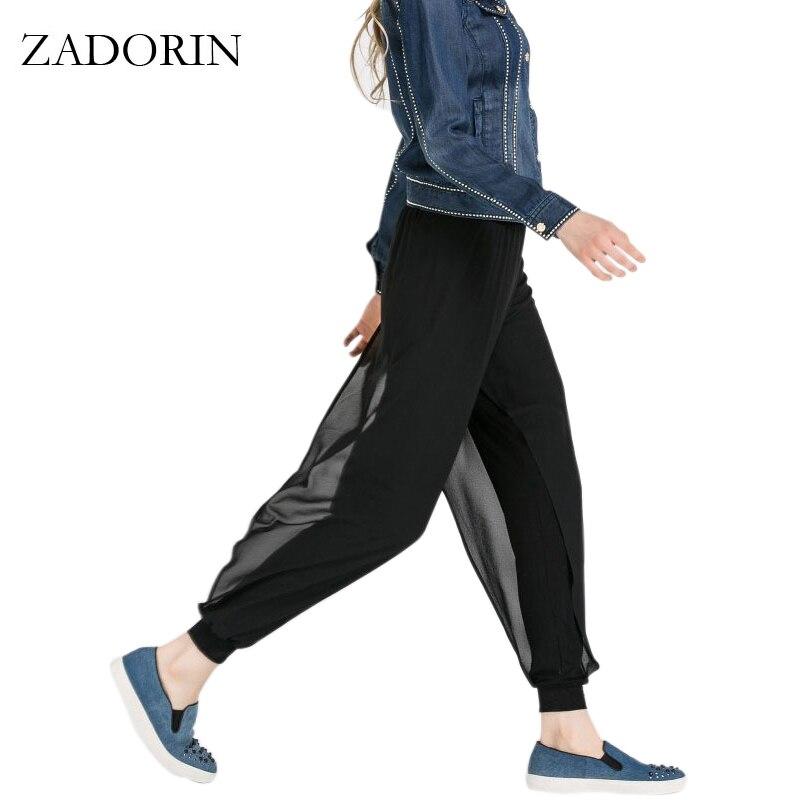 ZADORIN 2019 Nyári alkalmi Sifon Harem nadrágok Női fekete laza - Női ruházat