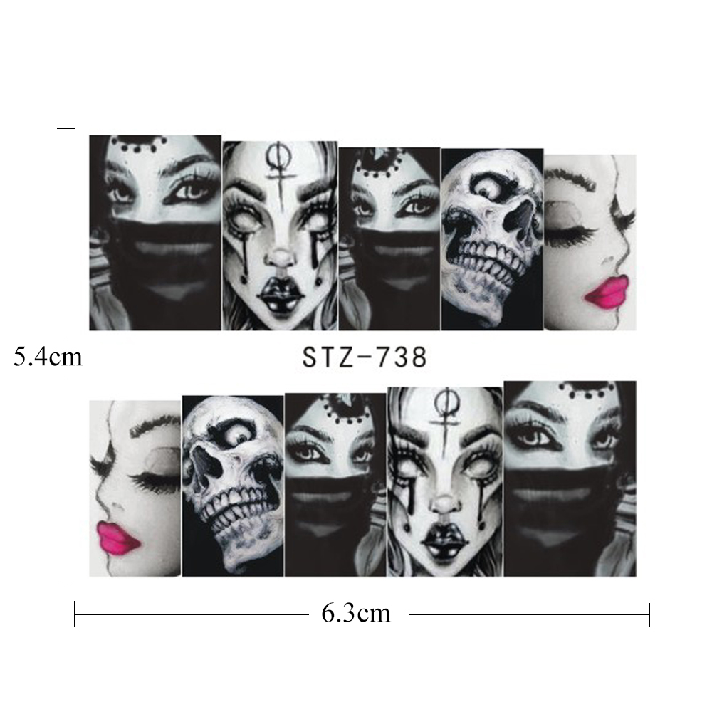 Image 4 - 25pcs Nail Stickers Halloween Sets Skull Bone DIY Slider Nail Art Water Decals Manicure Decoration Wraps Nail Foils CHSTZ731 755-in Stickers & Decals from Beauty & Health