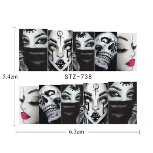 Image 4 - 25pcs Nail Stickers Halloween Sets Skull Bone DIY Slider Nail Art Water Decals Manicure Decoration Wraps Nail Foils CHSTZ731 755