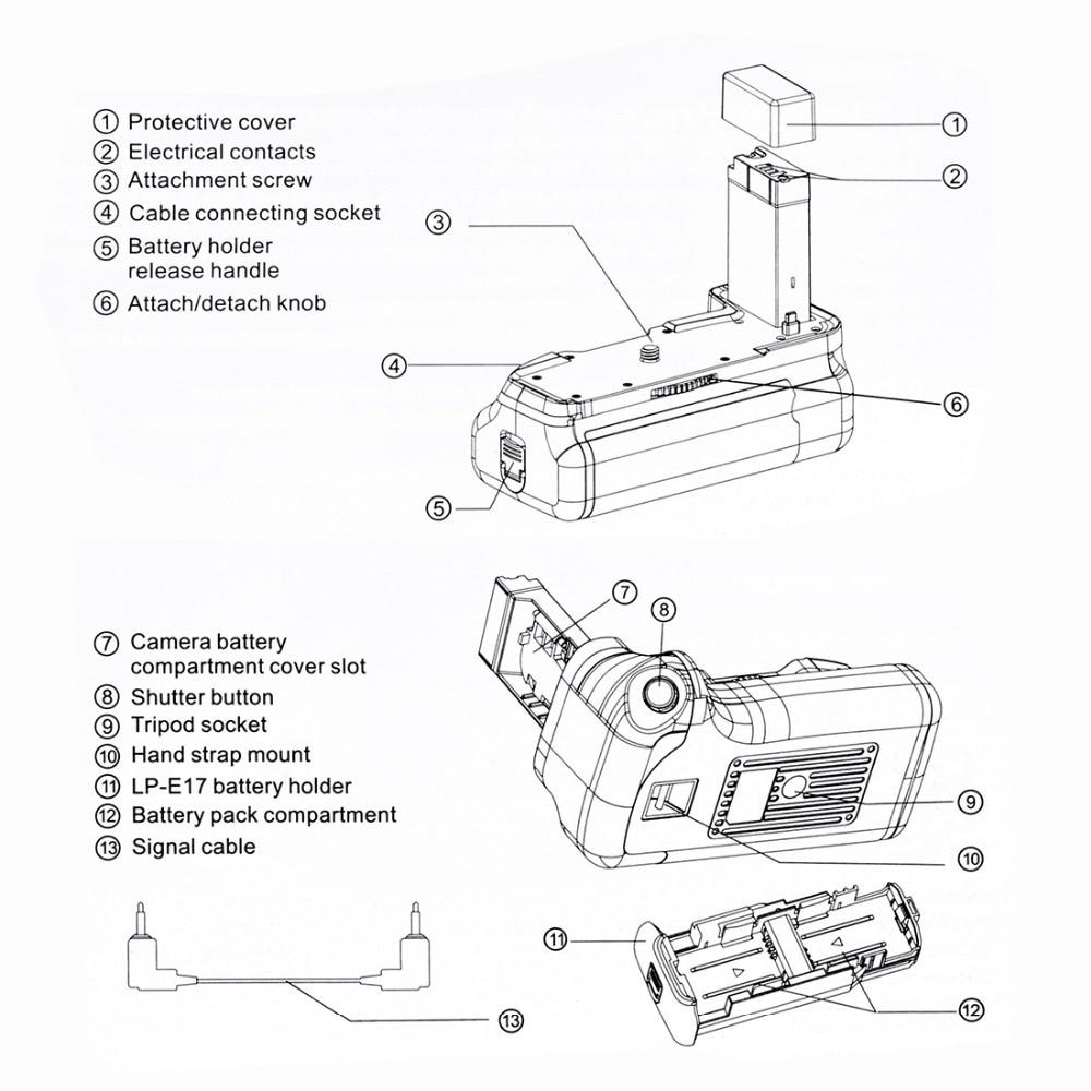 Poignée de batterie de caméra verticale PULUZ pour Canon EOS 800D/rebelle T7i/77D - 6