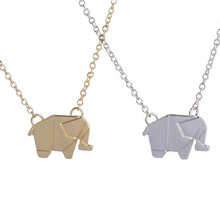 Silver Gold Lucky Animal Elephant Necklace for Women Origami Elephant Pendant Necklaces Link Chain Chokers Necklaces Pendants stunning rhinestoned elephant pendant necklace for women