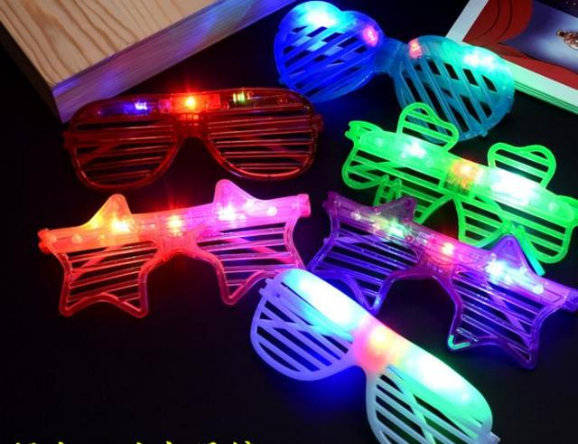 13628fd32e8 Glow Sunglass Chlidren Adults Christmas Halloween Shutter Shades LED Light  Up Flashing Blink Glasses Sunglasses Party