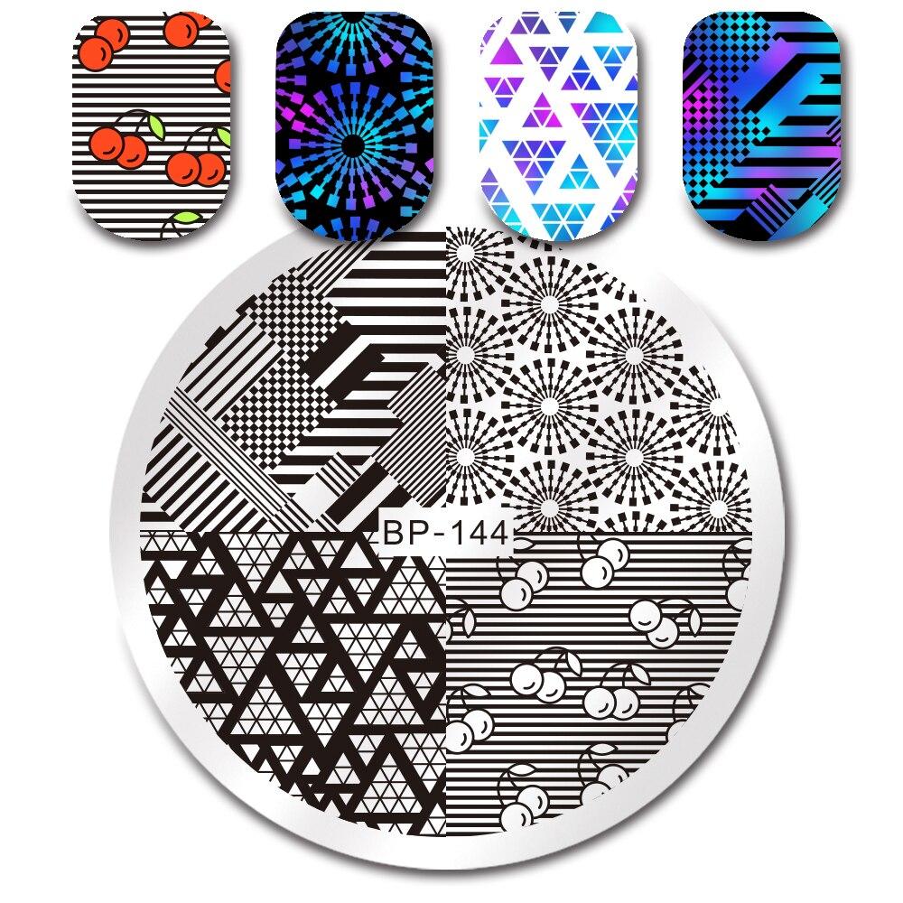 NACIDO PRETTY Plantilla de Estampación Redonda Floral Geometría - Arte de uñas